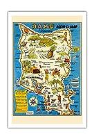 """オアフ島、ハワイ""""MEM-O-マップ"""" - 第二次世界大戦軍事記念碑マップ - ビンテージイラストマップ によって作成された ジョン・G・ドルリー c.1946 - アートポスター - 76cm x 112cm"""
