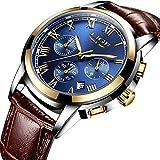 メンズ腕時計 LIGE レザーバンド ベルト 防水ウォッチ クロノグラフ 日付表示 ビジネス カジュアル ファッション アナログ クオーツ 時計 メンズ
