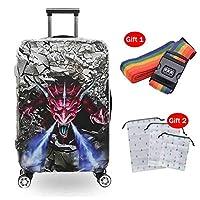 18-32インチ防水スーツケース保護カバー熱転写フラワーパターン高弾性耐摩耗性荷物カバー,4,S