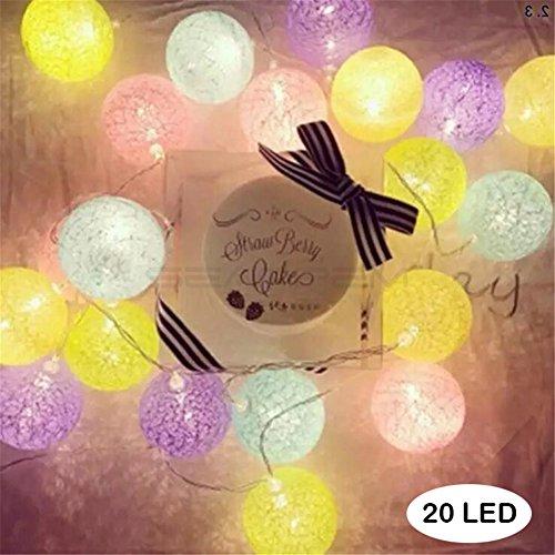 LED電球イルミネーションライト 電池式コットン電飾 柔らか...
