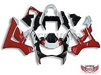 VITCIK (フェアリングキット 対応車種 ホンダ Honda CBR900RR 929 2000 2001 CBR900 RR 929 00 01) プラスチックABS射出成型 完全なオートバイ車体 アフターマーケット車体フレーム 外装パーツセット(レッド & ホワイト) A032