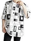 (モノマート) MONO-MART 幾何学柄 オーバーサイズTシャツ ビッグシルエット 総柄 ドロップショルダー カットソー 半袖 MODE メンズ ホワイト ワンサイズ