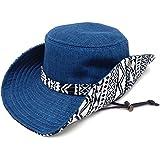 ハッピーハット ハット ゆったり約61cm チロリアン柄2WAYサファリハット hat-1263