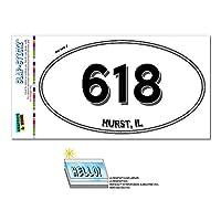 618 - ハースト, IL - イリノイ州 - 楕円形市外局番ステッカー