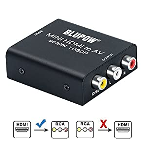 BLUPOW HDMI コンポジット変換 hdmi rca 変換 1080P対応 hdmi av 変換 hdmi コンポジット コンバーター デジタル アナログ 変換器 PS3・PS4・XBOX・TVBOX・Blu-ray Player・PCなど対応 hdm to rca