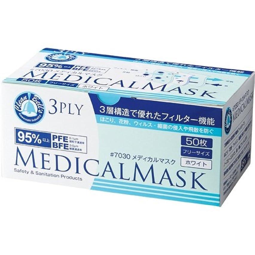 踏みつけスタジアム燃料川西工業 メディカルマスク 3PLY ホワイト 7030 1セット(500枚:50枚×10箱)