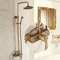 YYF-SHOWER シャワーセット、 真鍮継手、 創造的なシンプルさ 壁掛け式 8インチトップスプレー ハンドシャワー シングルハンドル ミキシングバルブ、 1.5mホース (色 : ブラス ぶらす)