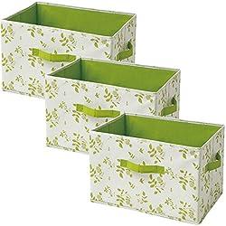 山善(YAMAZEN) どこでも収納ボックス(3個セット) アイボリー(緑リーフ柄) YTCF3P(IV GR2LF)