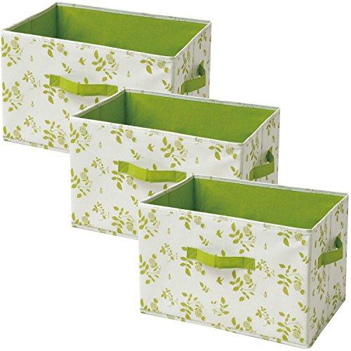 山善(YAMAZEN) どこでも収納ボックス(3個セット) アイボリー(緑リーフ柄) YTCF3P(IV/GR2LF)