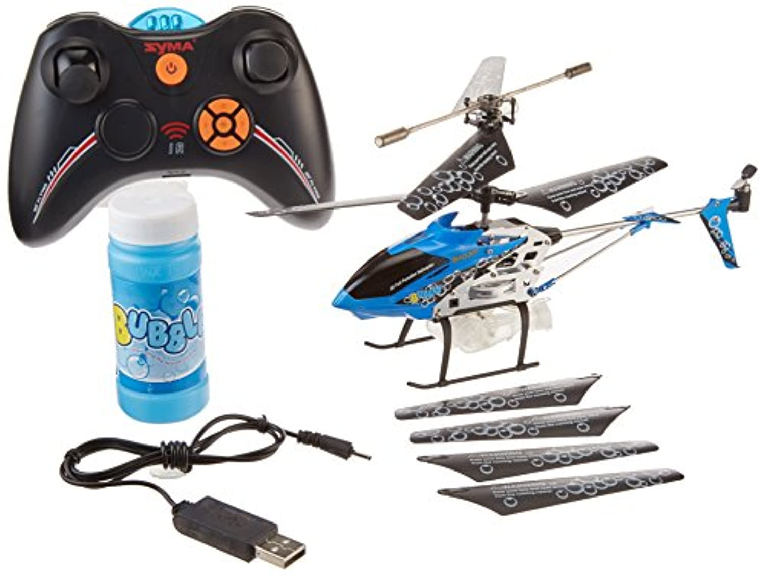 Syma 3 Channel S107p Bubble Blowing Helicopter Gyro 3 Channel with Light, Blue Color by Syma [並行輸入品]