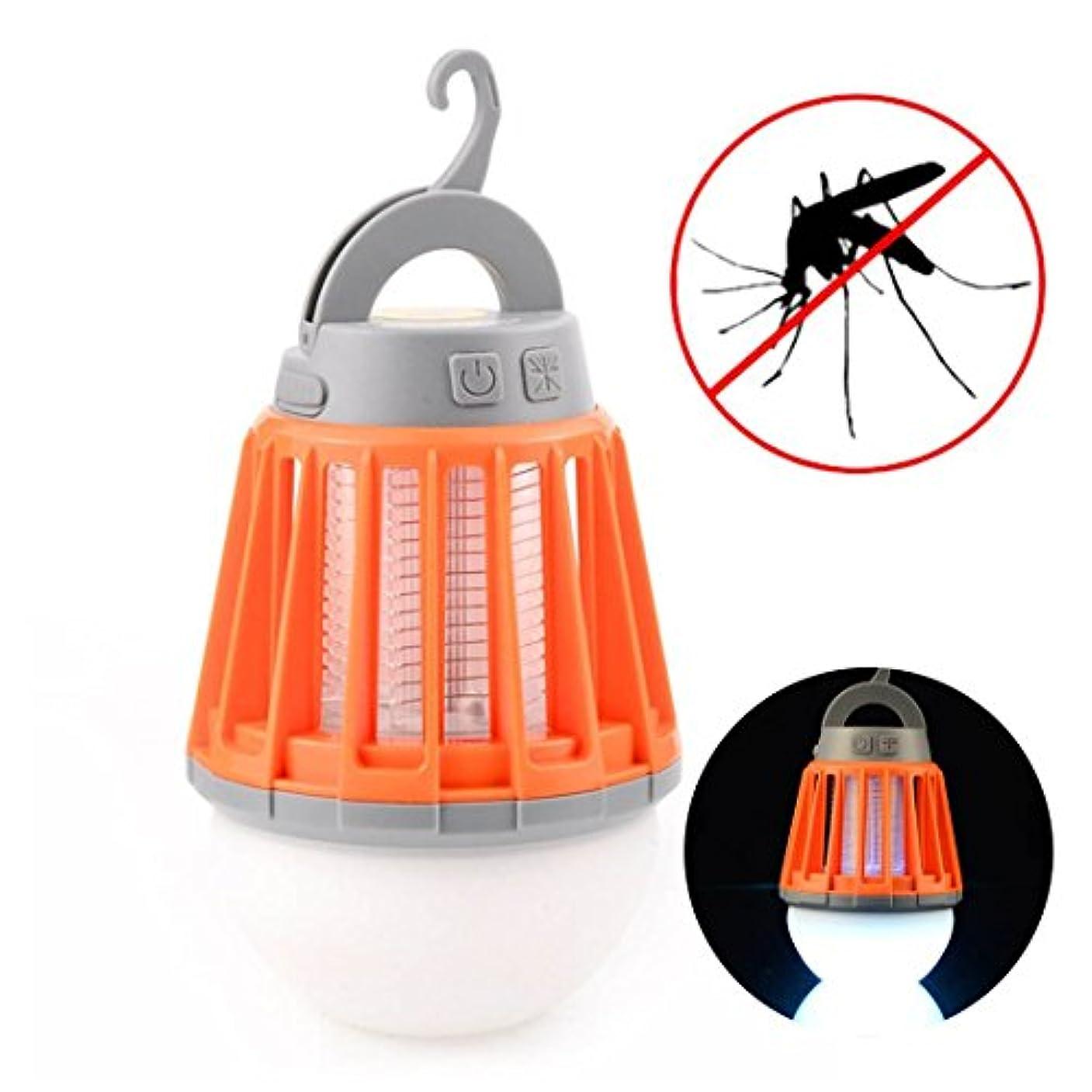 不利益薄い小人電撃殺虫器 LEDランタン TopYart 蚊取りと照明両用 USB充電式 IPX6 防水機能 屋外室内適用 (オレンジ)