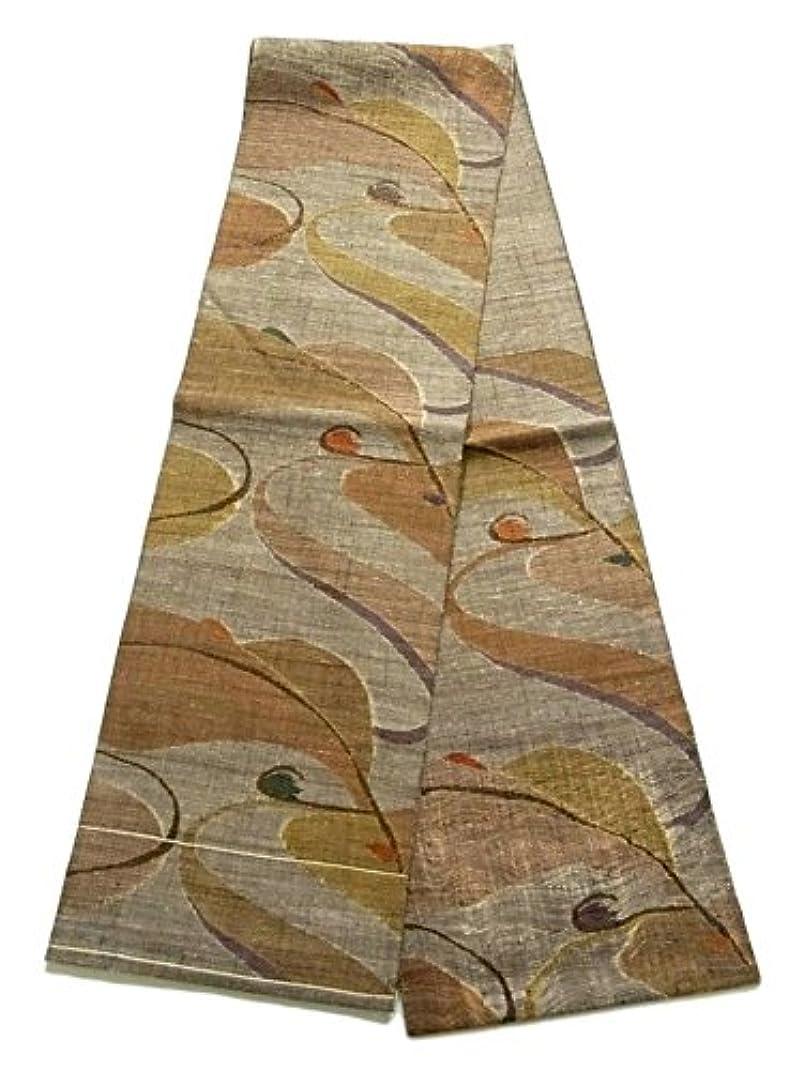 文明化するムスタチオ二次袋帯  紬 櫛織り 抽象模様