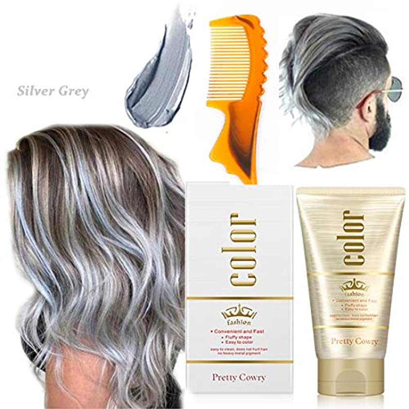 教えるめまいちょっと待って染めヘアワックス、ワンタイムカラースタイリング、スタイリングカラーヘアワックス、ユニセックス9色、diyヘアカラーヘアパーティー、ロールプレイング (Sliver grey)