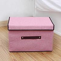 コットンリネン収納ボックスコンテナ大容量折りたたみクローゼットオーガナイザーボックス服ネクタイソックスボックス-ピンク