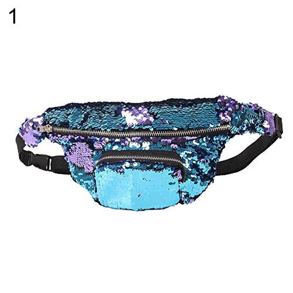 ロケーション高価な泥沼hamulekfae-化粧品綺麗女性シックな人魚Pailletteのウエストバッグパックメイクアップジッパー化粧品ポーチケース - ブルーパープル