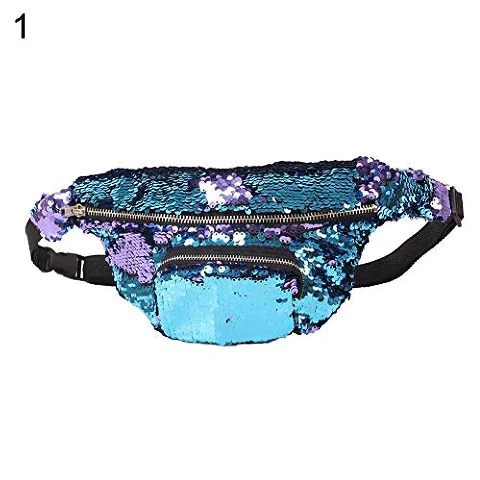 宮殿修復ヘビーhamulekfae-化粧品綺麗女性シックな人魚Pailletteのウエストバッグパックメイクアップジッパー化粧品ポーチケース - ブルーパープル