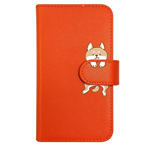 sslink KYV42 Qua phone QX/DIGNO V 京セラ 手帳型 スマホ ケース 柴犬 動物 キャラクター かわいい (オレンジ) 犬 イヌ アニマル ダイアリータイプ 横開き カード収納 フリップ カバー スマートフォン