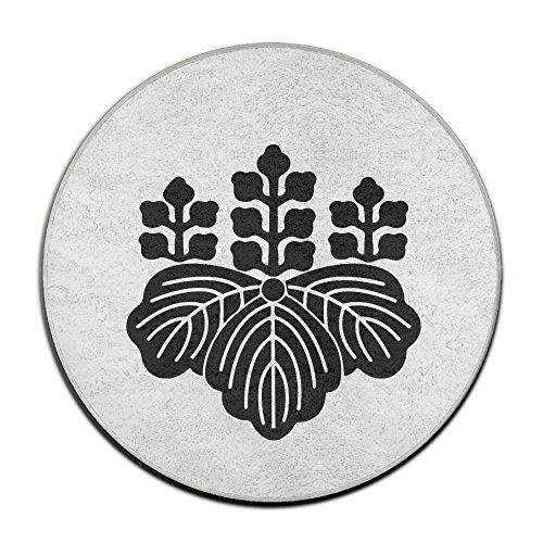 豊臣秀吉 五七の桐 苗字 家紋 カーペット ラグマット 絨毯 滑り止め 円形 丸型 White