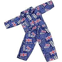Lovoski 全6色 パジャマセット 18インチドール人形用 ファッション 人形アクセサリー - ダークブルー