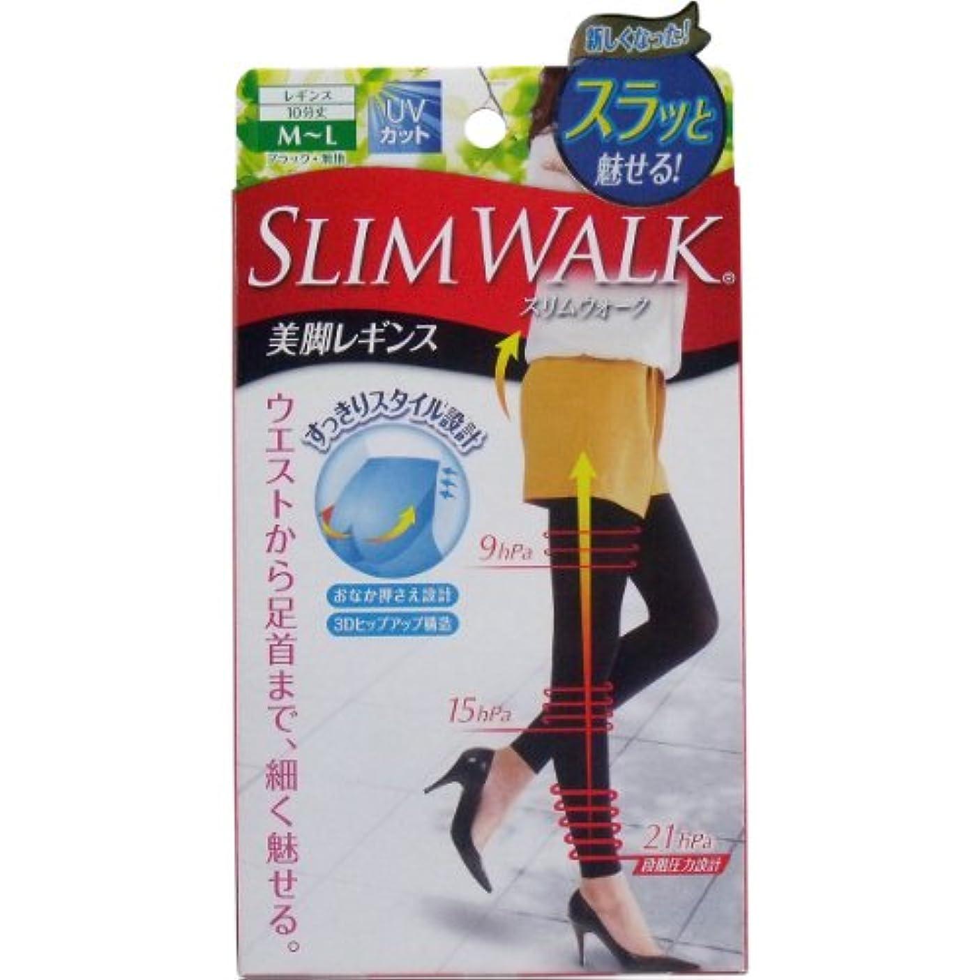 良性激怒地域スリムウォーク 美脚レギンス 10分丈 ブラック M-Lサイズ