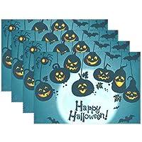 AOMOKI ランチョンマット ブランドランナー テーブル 食卓 断熱 防汚 滑り止め 丸洗い レストラン用 飾り 30x45cm Happy Halloween ハロウィン カボチャ 1枚 4枚セット 6枚セット