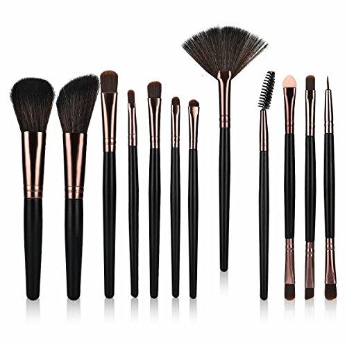 LEEPWEI化粧筆 メイクブラシセット 最高級のタクロンを使用 超柔らかい 粉含み力抜群 化粧ブラシ12本セット コスメ ブラシ 収納ケース付き( ブラック)