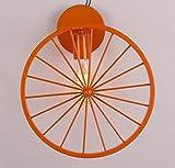 ウォールランプ レトロアイアンアートカフェベッドルームレストランクリエイティブパーソナライズ自転車ホイールウォールランプ ( 色 : オレンジ )