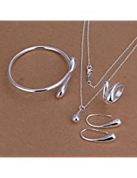 Niome Teardrop Pendant Necklace+Bracelet+Ring+1 Pair Earrings Women Jewellery Sets Wedding Cocktail Party