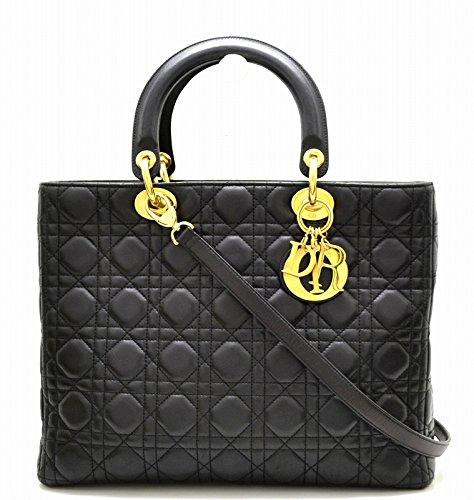 [クリスチャン ディオール] Christian Dior カナージュ レディディオール ハンドバッグ 2WAY ショルダーバッグ 黒 ブラック ゴールド金具 [中古]