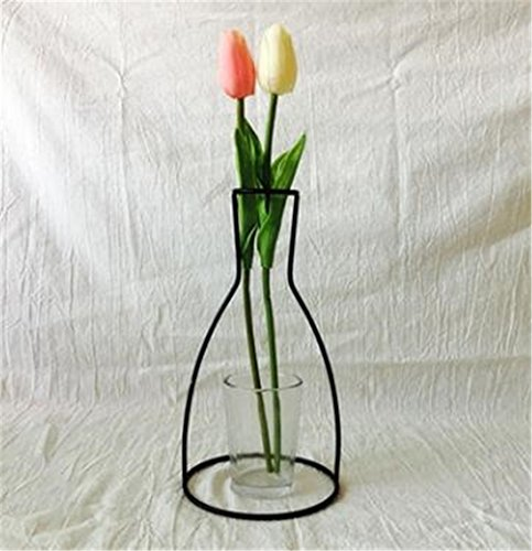 Heyuni.メタル 花瓶のフレーム クリエイティブシェイプブラック植物ホルダーカフェホームインテリア,C(Width*Height:12cm*23cm)