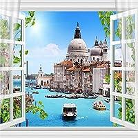 Hxcok 壁画壁紙3Dカーテンヴェネツィアシティビルフレスコリビングルームテレビ背景壁画Papel De Parede 3D-250X175CM