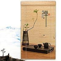 ロロバンブーローマンブラインドブラインド木製ブラインド窓カーテンロールアップベネチアンシェーディングレトロ、2.50mm で利用可能 (Color : A, Size : 90X200CM)