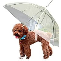Cathyのハウス ペットの傘 雨傘 透明傘 犬用 リード付き 親骨径45cm 超小型・小型・中型犬に適用 雨の日の散歩 速乾