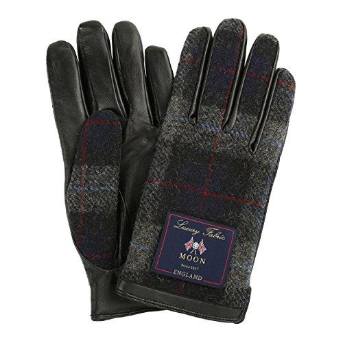 MOON ムーンツイード 手袋 メンズ スマホ 本革 タッチパネル対応 グローブ / ネイビーチェック / M