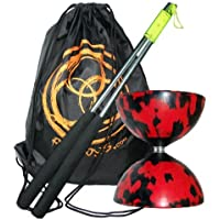 Mr Babache Harlequin Diabolo Set - Red/Black with Aluminium Handsticks and Firetoys Bag by Mr Babache Diabolo [並行輸入品]