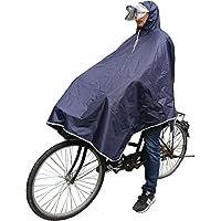レインコート 自転車用 バイク用 リュック対応 収納袋付き 袖にボタン付き 軽量 完全防水 夜光 二重構造 透明帽子 ネイビー(ノースリーブ)