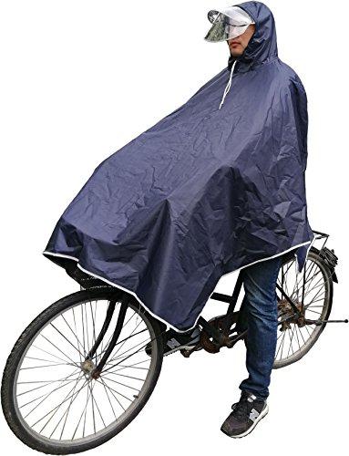 レインコート 自転車用 バイク用 リュック対応 収納袋付き 袖にボタン付き 軽量 完全防水 夜光 二...