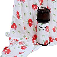 AINAAN Swaddling Receiving Blanket for Girls Floral Print Bamboo Cotton Swaddle Wrap Nursing Cover & Burping Cloth Summer Baby Muslin Blankets [並行輸入品]