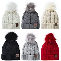 REDESS Baby Winter Warm Fleece Lined Hat Infant Toddler Kids Pom Pom Beanie Knit Cap For Girls and Boys [0-5Years]set of 6