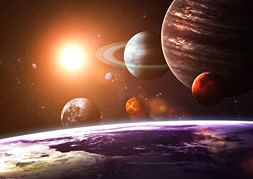 絵画風 壁紙ポスター (はがせるシール式) 太陽系の惑星と地球 太陽光 天体 宇宙 神秘 キャラクロ SOLS-002A2 (A2版 594mm×420mm) 建築用壁紙+耐候性塗料