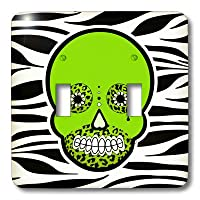 3drose LSP _ 35550_ 2Double Toggle Switch withの日のde Advertisementスカル死者の日Zebra and Leopard Animal Printグリーン