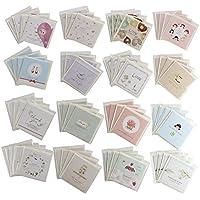 【64点セット】 かわいい 封筒付 ミニ メッセージカード 16種類 各4枚