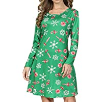 RJXDLT Womens Ugly Christmas Dresses Santa Casual Print Flare Swing Party Dress