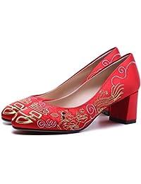 女性の靴中国スタイルの刺繍結婚式の靴ブライダルシューズと厚いハイヒールショーツと厚い (サイズ さいず : UK3.5/EU36/CN35)