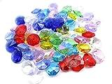 1つ穴 八角 クリスタル ガラス ビーズ 14 mm 手作り サンキャッチャー 材料 パーツ 色付き 70 個 セット (MIX)