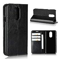 ZWwxin 電話ケース LGスタンド&カードスロット、LG L - 03K / LGスタイルL - 03KのためのフリップケースカバーとLGスタイルL - 03Kレザーケース、ラグジュアリークレイジーホース本革の財布ケース (Color : Black)