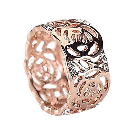 K.L.Y 指輪 レディース 最高級 ダイヤモンドCZ プラチナ 薔薇花 透かし 幅広 アンティーク18金RGP ジュエリー ファッションアクセサリー レディースリング 高品質リング キラキラ レディースかわいい 指輪 ピンクゴールド ギフト包装