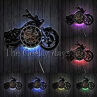 AiCheaXアメリカンクラシックオートバイウォールアートウォールクロックガレージサインバイクビンテージビニールレコードウォールクロックマンケイブインテリアバイカーズギフト-(色:LED付き)