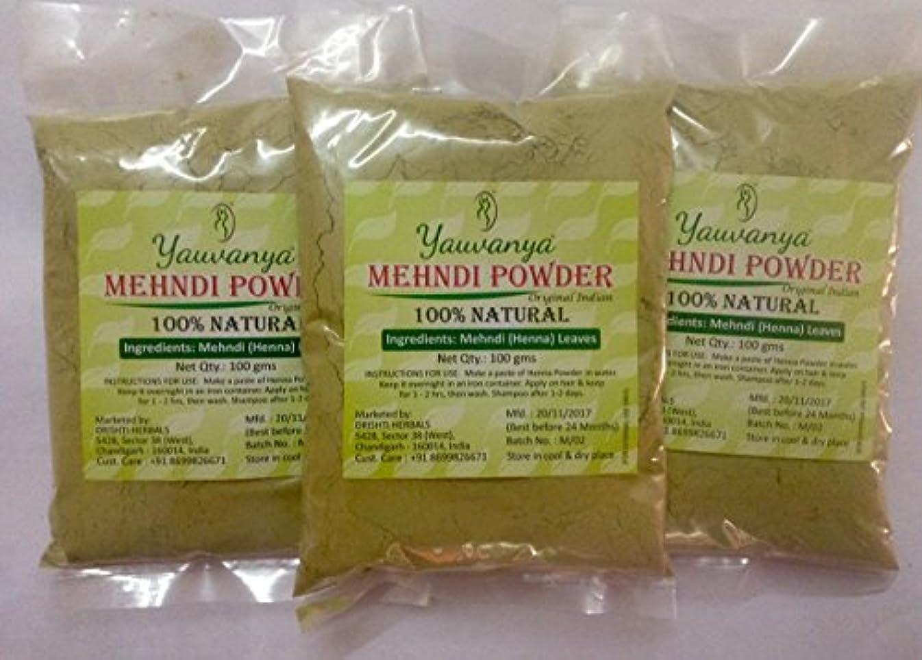 Yauvanyaオリジナルインディアンピュア&ナチュラルヘナ(Mehndi)for Hair - 3X100 gms (Yauvanya Original Indian Pure and Natural Henna (Mehndi...