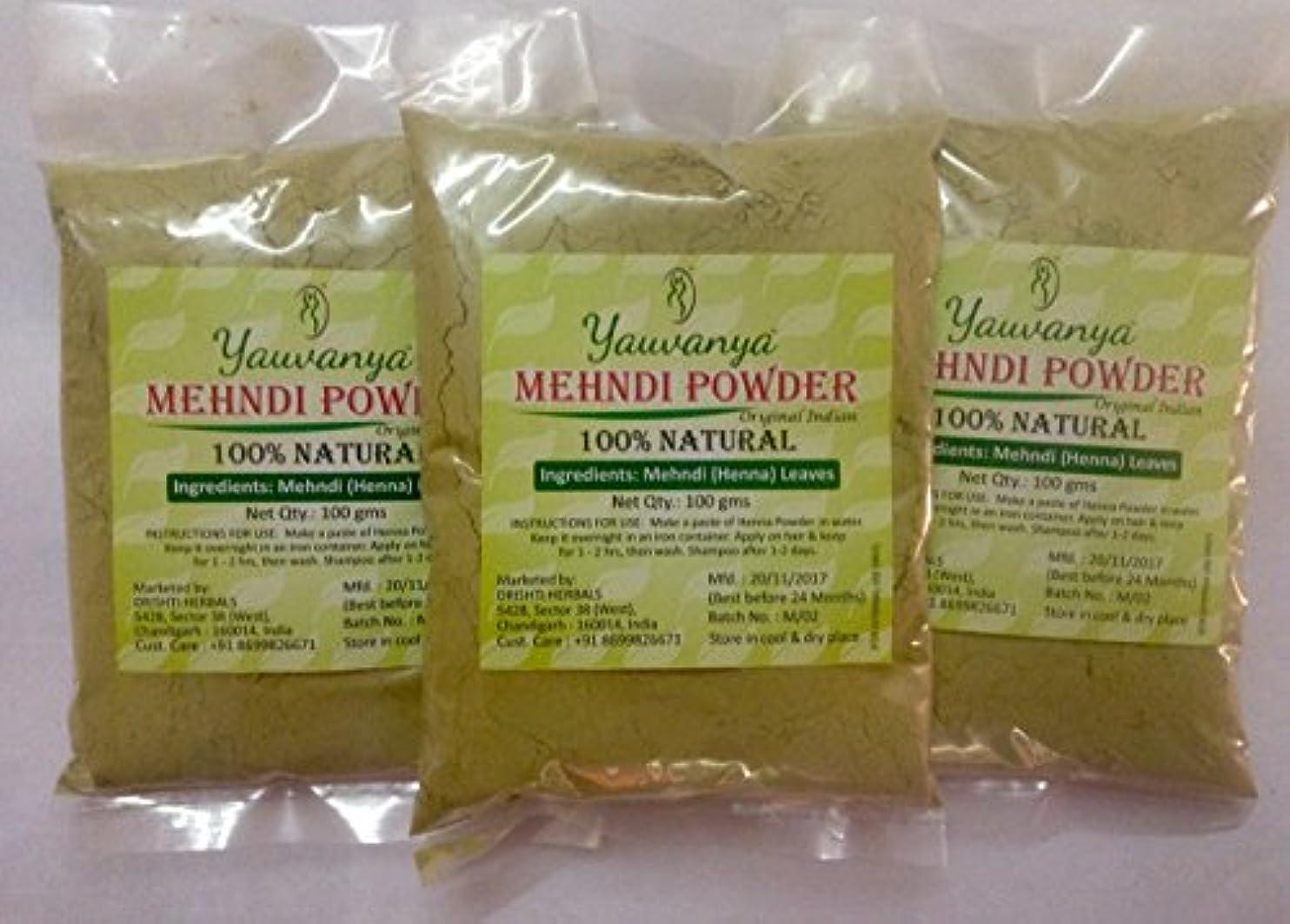 ゲージくマエストロYauvanyaオリジナルインディアンピュア&ナチュラルヘナ(Mehndi)for Hair - 3X100 gms (Yauvanya Original Indian Pure and Natural Henna (Mehndi...